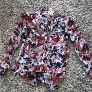 Red Floral Button Down